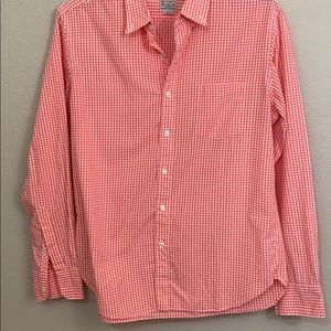 Jcrew 100% cotton checked button up blouse large